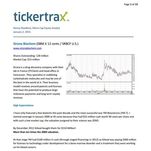 tickertrax, Danny Deadlock - Sirona Biochem